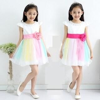 Kids Girls Elegant Rainbow Dresses Bubble Skirts With Belts