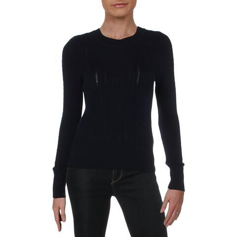 Aqua Womens Pullover Sweater Cashmere Mini Cable