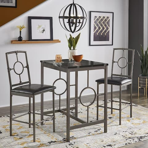 Roxanne Metal and Marble 3-Piece Counter Height Set by iNSPIRE Q Modern