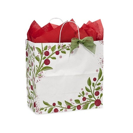 "Pack of 250, Floral Filly Tuscan Christmas Paper Bags 13 X 7 X 13"" 100% Recyclable, Made In Usa"