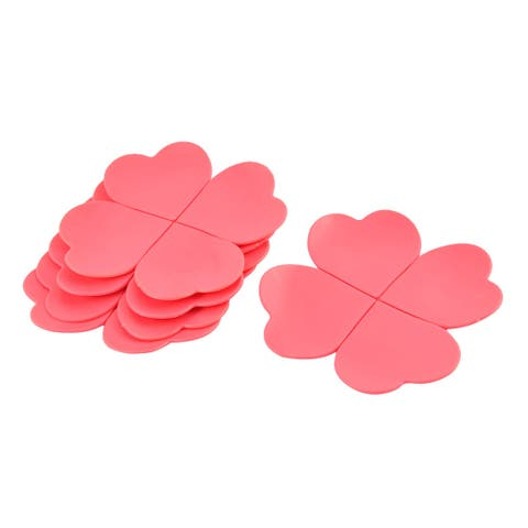 Family Houseware Desk Table Silicone Four Leaf Clover Shape Cup Mats Red 5 PCS