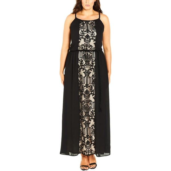 915110e4d7 Shop City Chic Womens Plus Maxi Dress Chiffon Lace Detail - Free Shipping  On Orders Over  45 - Overstock - 18403964