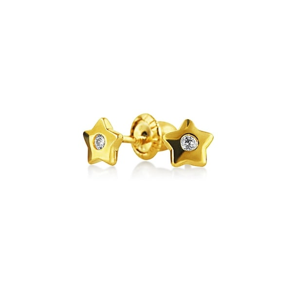 Tiny Minimalist Real 14K Gold Screwback Celestial USA American Patriotic Rock Star CZ Stud Earrings For Women For Teen
