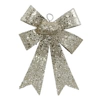 "7"" Champagne Sequin and Glitter Bow Christmas Ornament - GOLD"