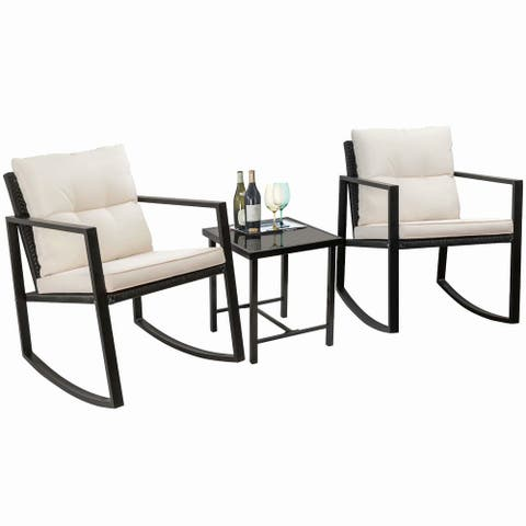 Homall 3 Piece Rocking Bistro Set Wicker Patio Outdoor Furniture Porch Chairs Conversation Sets with Glass Coffee Table