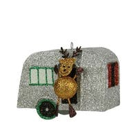 3.5 in. Glitter Drenched Reindeer & Vacation Camper Decorative