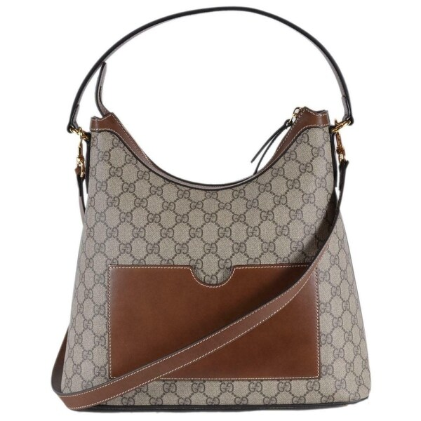 87fee83d Shop Gucci 414930 Brown Beige GG Supreme Guccissima Convertible Hobo ...