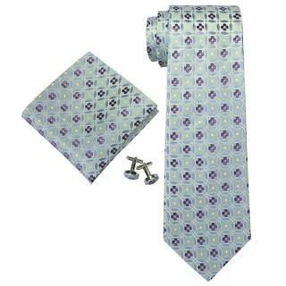 Men's Blue And Green Geometric 100% Silk Neck Tie Set Cufflinks & Hanky 18A60 - regular