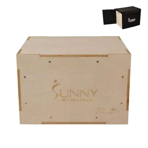 Sunny Health & Fitness Adjustable Wood Plyo Box with Removable Cover