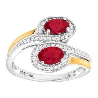 1 1/8 ct Natural Ruby & 1/5 ct Diamond Bypass Ring in Sterling Silver & 14K Gold - Red