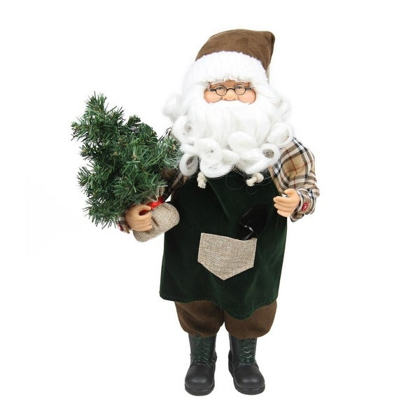 "18"" Gardening Santa Claus with Pine Tree Christmas Tabletop Decoration - brown"