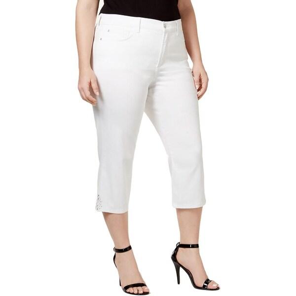 d78440c5efd Shop NYDJ Womens Plus Ariel Capri Jeans Denim Embellished Hem - Free ...