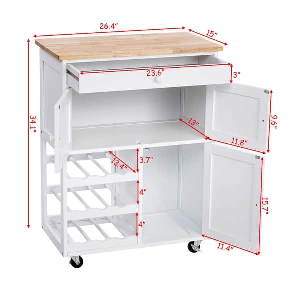 Gymax Modern Rolling Kitchen Cart Trolley Island