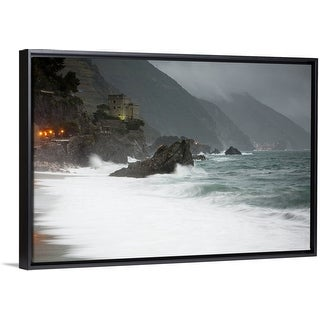 """""""Stormy seascape looking to the lights of Vernazza from Monterosso al Mare"""" Black Float Frame Canvas Art"""