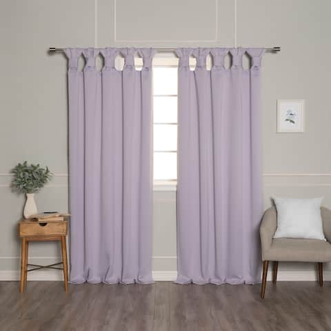 Aurora Home Thermal Insulated Blackout Knotted Tab Curtains
