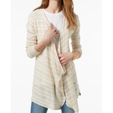 Volcom Womens Sweater Beige Size Medium M Cardigan Striped Open Front