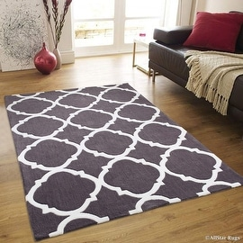 "AllStar Grey Hand Made Modern. Floral. design Area Rug with Dimensional hand-carving highlights (4' 11"" x 6' 11"")"