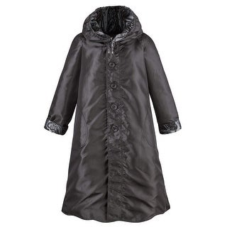 Lindi Women's Reversible Flocked Paisley Pewter Raincoat Reverse to Satiny Black