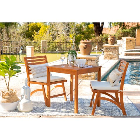 Oarcha 3-Piece Natural Brown Wood Outdoor Cushioned Bistro Set