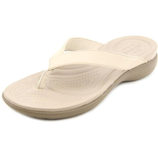 Crocs Capri V Flip Women Open Toe Leather Tan Thong Sandal