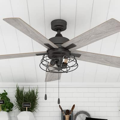 Prominence Home Marshall 52-in. Indoor Matte Black Farmhouse Ceiling Fan