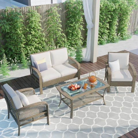 Nestfair 4 Pieces Rattan Sofa Seating Group with Cushions