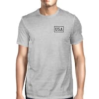 Mini USA Mens Grey Cotton Independence Day T-Shirt Simple Graphic