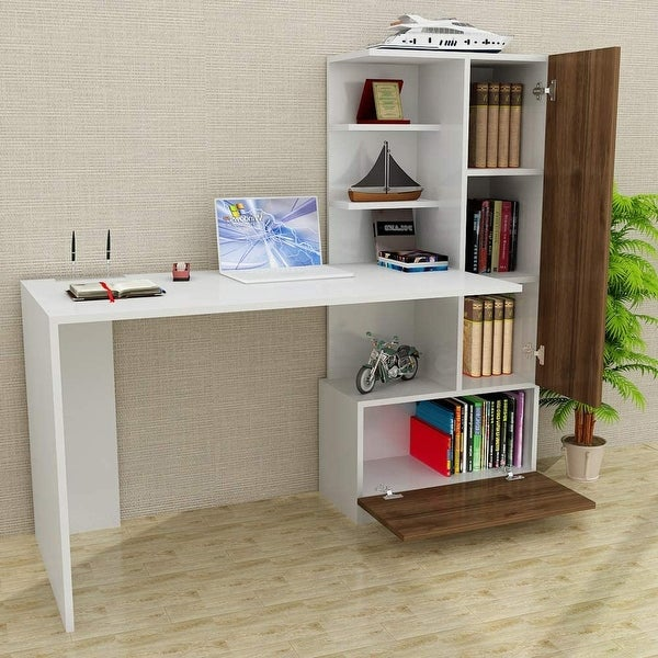 "Pyramid Home Decor Modern Home Office Computer Desk with Shelves 59"". Opens flyout."