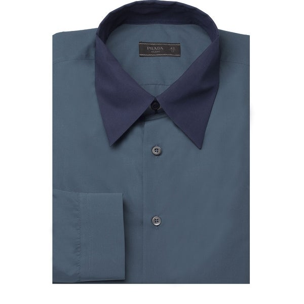 dd453037f3 Shop Prada Men's Contrasting Pointed Collar Cotton Dress Shirt Navy - Free  Shipping Today - Overstock - 14566252