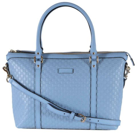 Gucci 449656 Blue Leather Micro GG Medium Convertible Purse Handbag