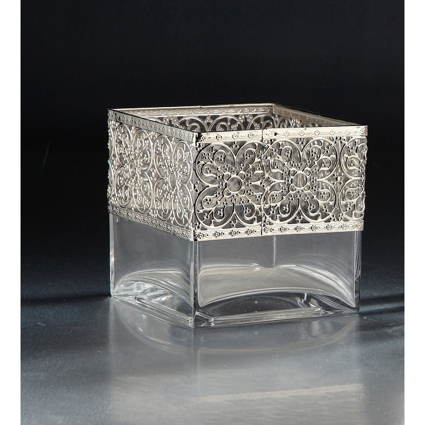 """6"""" Clear and Silver Colored Square Tabletop Glass Vase - N/A"""