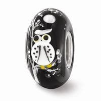 Sterling Silver Reflections Black Hand Painted White Owl Glass Bead