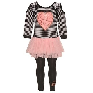 Girls Blush Heart Applique Mesh Skirted Top 2 Pc Legging Outfit