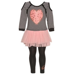 Little Girls Blush Heart Applique Mesh Skirted Top 2 Pc Legging Outfit