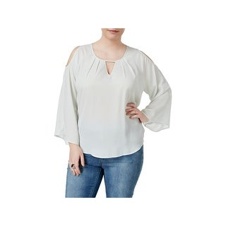 Melissa McCarthy Seven7 Womens Plus Blouse Plus Size Cold-Shoulder