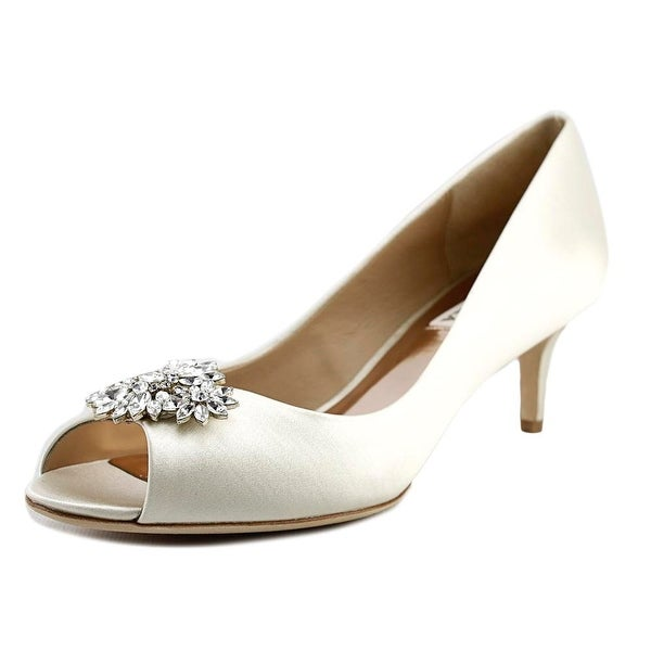 0f329ee8d6e Shop Badgley Mischka Nakita Women Peep-Toe Canvas Ivory Heels - Free ...