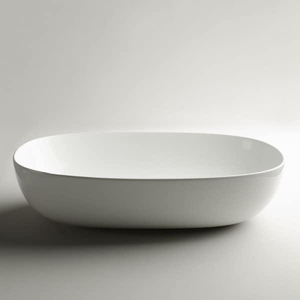 "WS Bath Collections Pod 60.38 Pod 23-3/5"" Ceramic Vessel Bathroom Sink - Gloss White"