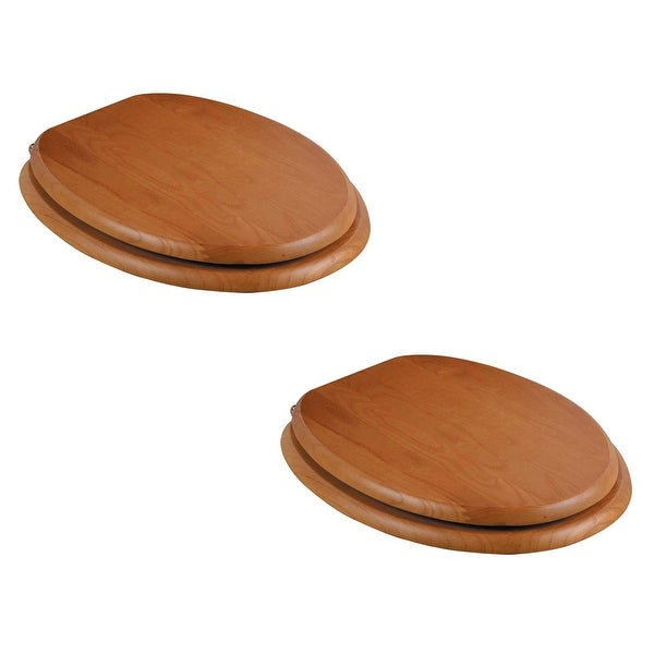 Elongated Toilet Seat Solid Wood Golden Oak Brass PVD Hinge Set of 2