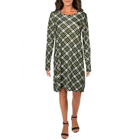 MICHAEL Michael Kors Womens T-Shirt Dress Plaid Mini - Evergreen