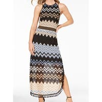 Laundry by Shelli Segal Black Womens Size 2 Chevron Maxi Dress
