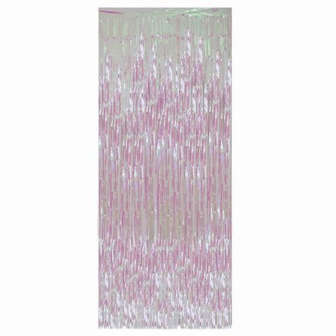 Iridescent Tinsel Christmas Window or Door Curtain 3' x 8'