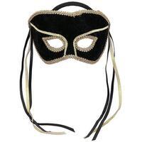 Black Venetian Costume Mask Adult One Size