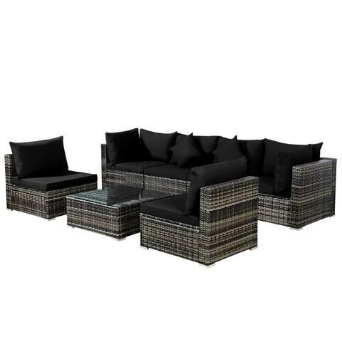 7PCS Patio Rattan Furniture Set Sectional Sofa Garden Cushion-Black