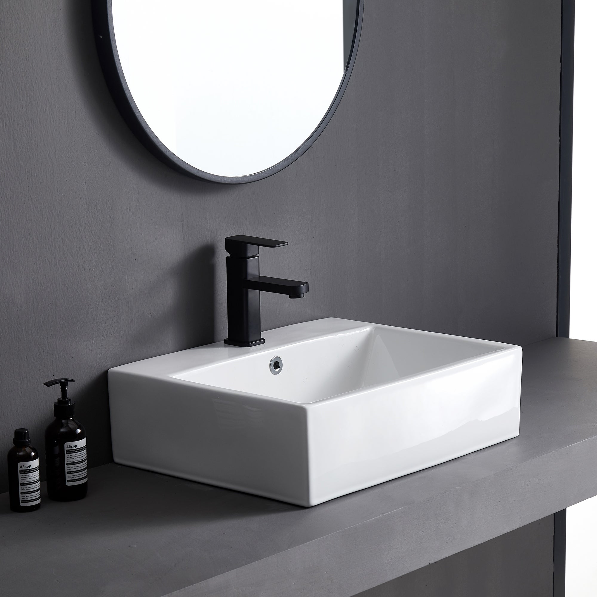 Eridanus 15 Inch Square Vessel Sink White Bathroom Sink Above Counter Ceramic Bathroom Vanity Sink Bathroom Sink Art Basin 15 X 15 Inch Tools Home Improvement Vessel Sinks Fcteutonia05 De