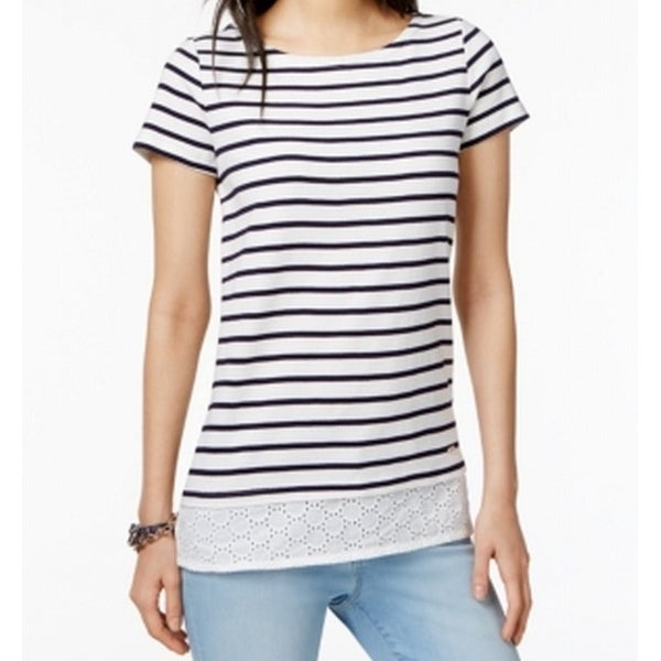 3bcc48288e4c5 Shop Tommy Hilfiger White Women's Size XL Striped Eyelet-Hem Tee T-Shirt -  Free Shipping On Orders Over $45 - Overstock.com - 21248455