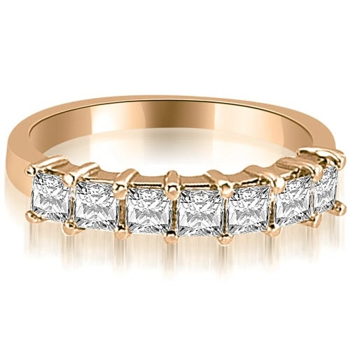 0.70 cttw. 14K Rose Gold Princess Diamond 7-Stone Prong Wedding Band