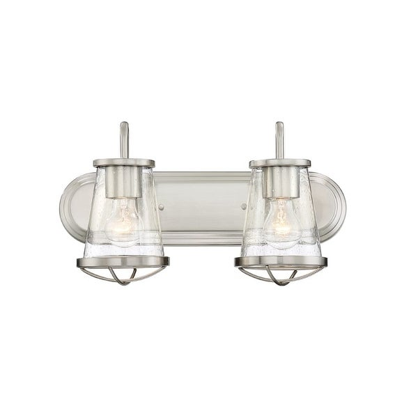 Designers Fountain 87002 Darby 2 Light 18 Wide Bathroom Vanity With Seedy Glass Shade