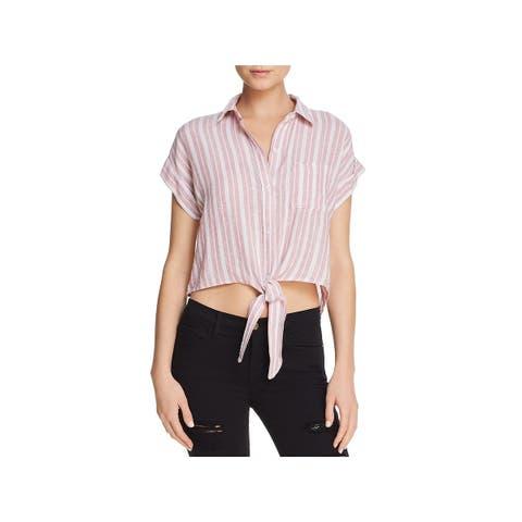 Rails Womens Button-Down Top Linen Knot-Front - S