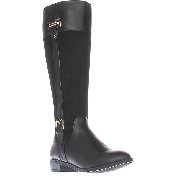 KS35 Deliee Flat Knee-High Boots, Black