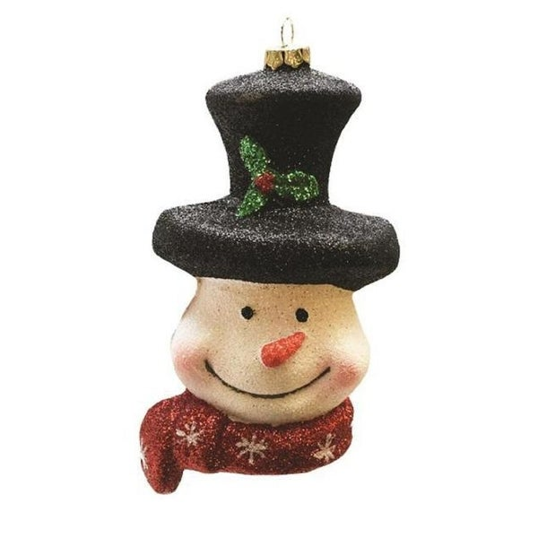 """5"""" Merry & Bright Whimsical Snowman Head with Top Hat and Scarf Shatterproof Christmas Ornament"""